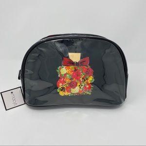 NWT Macy's Black Floral Zip Cosmetics Bag